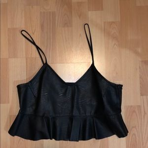 Zara faux leather ruffle crop top